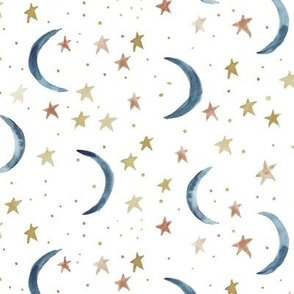 Sweet dreams - watercolor magic night sky with stars and moons for nursery in blue and earthy tones
