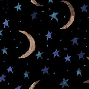 Sweet dreams - bronze moons and blue stars -watercolor magic night sky with stars and moons for nursery