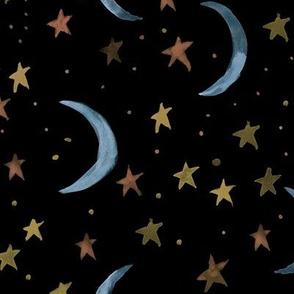 Sweet dreams - watercolor magic night sky with stars and moons for nursery