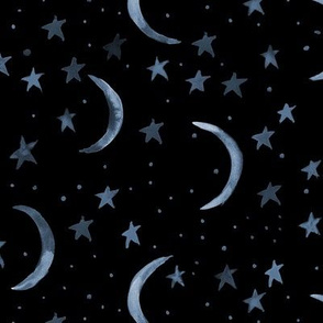 sweet dreams - watercolor magic night sky with stars and moons for nursery p326