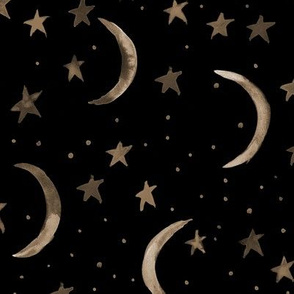 Gold on black sweet dreams - watercolor magic night sky with stars and moons for nursery
