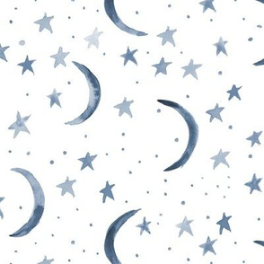 Subdued sweet dreams - watercolor magic night sky with stars and moons for nursery - grey indigo