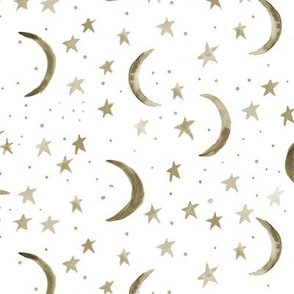 Earthy boho sweet dreams - watercolor magic night sky with stars and moons for nursery