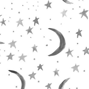Noir sweet dreams - watercolor magic night sky with stars and moons for nursery in shades of grey