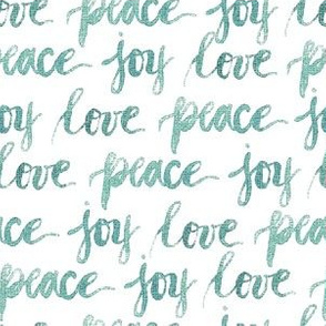 love peace joy | Hand lettering watercolor Blue Green|Renee Davis