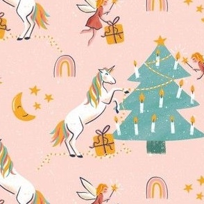 Magical Christmas - Unicorn fairy and rainbow