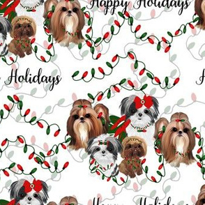 "Shihtzu Holiday Lights - Group is about 2 1/2"" tall"