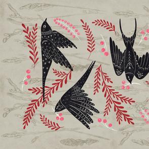 Festive Swallows Tea Towel