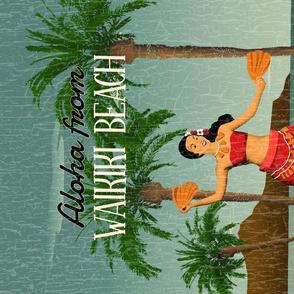 Hawaiian Vintage Hula Girl Postcard Tea Towel