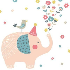 Elephants and flowers