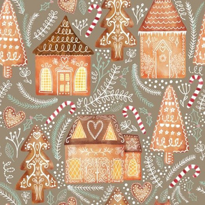 Gingerbread Village on Taupe (Large scale) Taupe