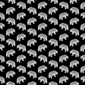 Bears in Black & White with Black Background (Small Scale)