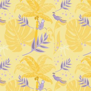 Playful_tropical_monkey_on_sunny_yellow_background