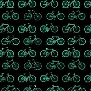 Retro Antique Bicycles in Teal Green on Black Background (Small Scale)