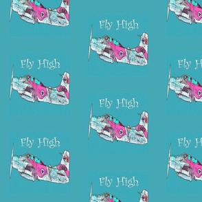 Fly High, Pink White Plane on Aqua