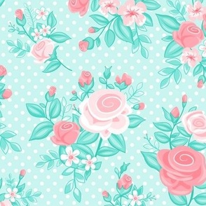 Retro Flowers_Pink-Turquoise