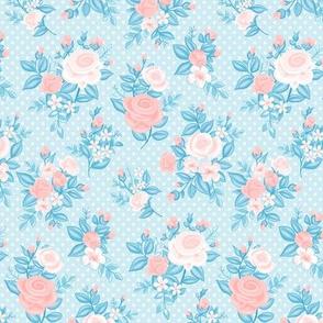 Retro Flowers_Rose Quartz-Light Blue_50Size