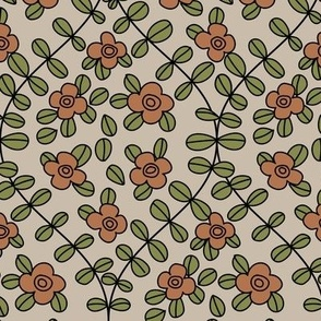 Red flowers and green leaves ogee on light background