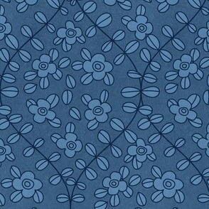 Floral vine ogee in blue