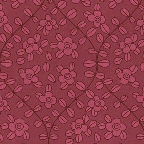 Floral vine ogee in red