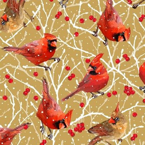 Snowy Cardinal Love | Small | Southwind Gold