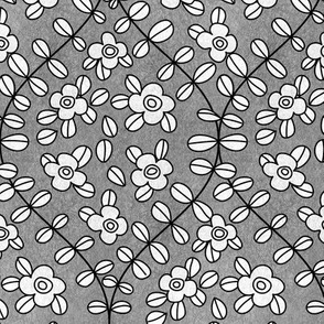 Floral vine ogee grayscale