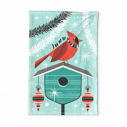 Happy Holidays Cardinal Tea Towel Aqua