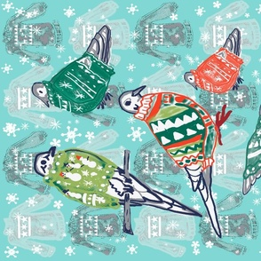 Doves in Winter sweaters 3 teatowels