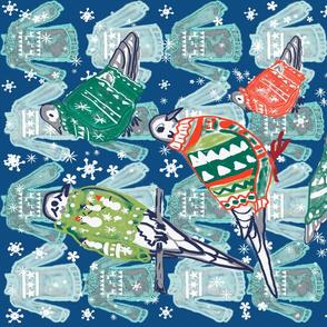 doves in winter sweaters 3 dk blueteatowels