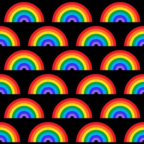 Rainbow semi-circles on black