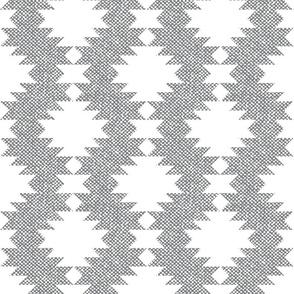 Ultimate Gray Aztec Kilim White diamonds grey faux burlap texture large scale Wallpaper Fabric