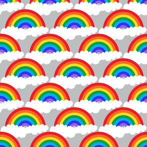 rainbow semicircle with clouds on grey