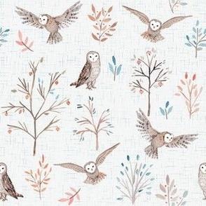 owl garden print - white