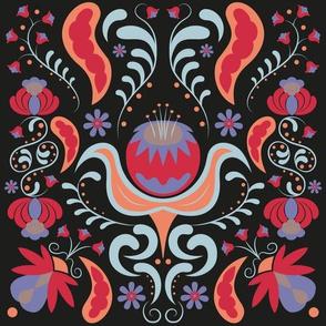 Folk pattern black