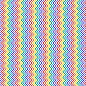 Zig zags bright rainbow on white