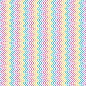Zig zags pastel rainbow on white