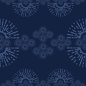 organized little sunbursts - blue