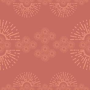 organized little sunbursts - coral