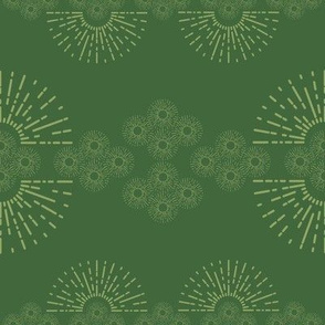 organized little sunbursts - green
