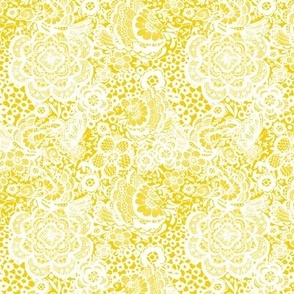 Yellow and white dove lace floral