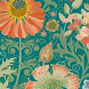 Le Jardin Art Nouveau  LARGE blue