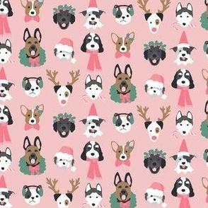 Christmas Puppies on Pink mini