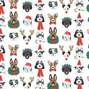 Red and Green Christmas Puppies mini