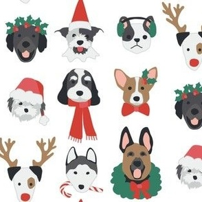 Red and Green Christmas Puppies