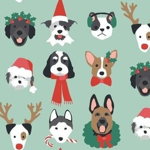 Christmas Puppies on Green