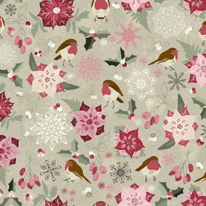 Christmas Birds - Pink and Green