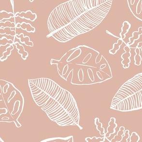 Tropical lush garden jungle leaves neutral island boho nursery design coral blush white girls