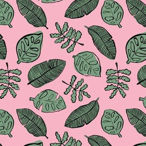 Tropical lush garden jungle leaves neutral island boho nursery design sage green pink