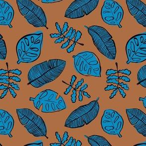 Tropical lush garden jungle leaves neutral island boho nursery design rust brown classic blue