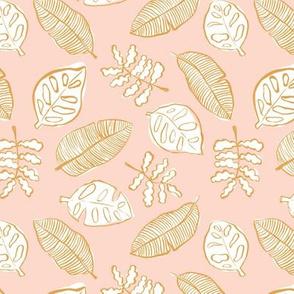 Tropical lush garden jungle leaves neutral island boho nursery design blush pink golden yellow white